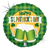 """18"""" Holographic Balloon St. Patrick's Day Green Beer"""