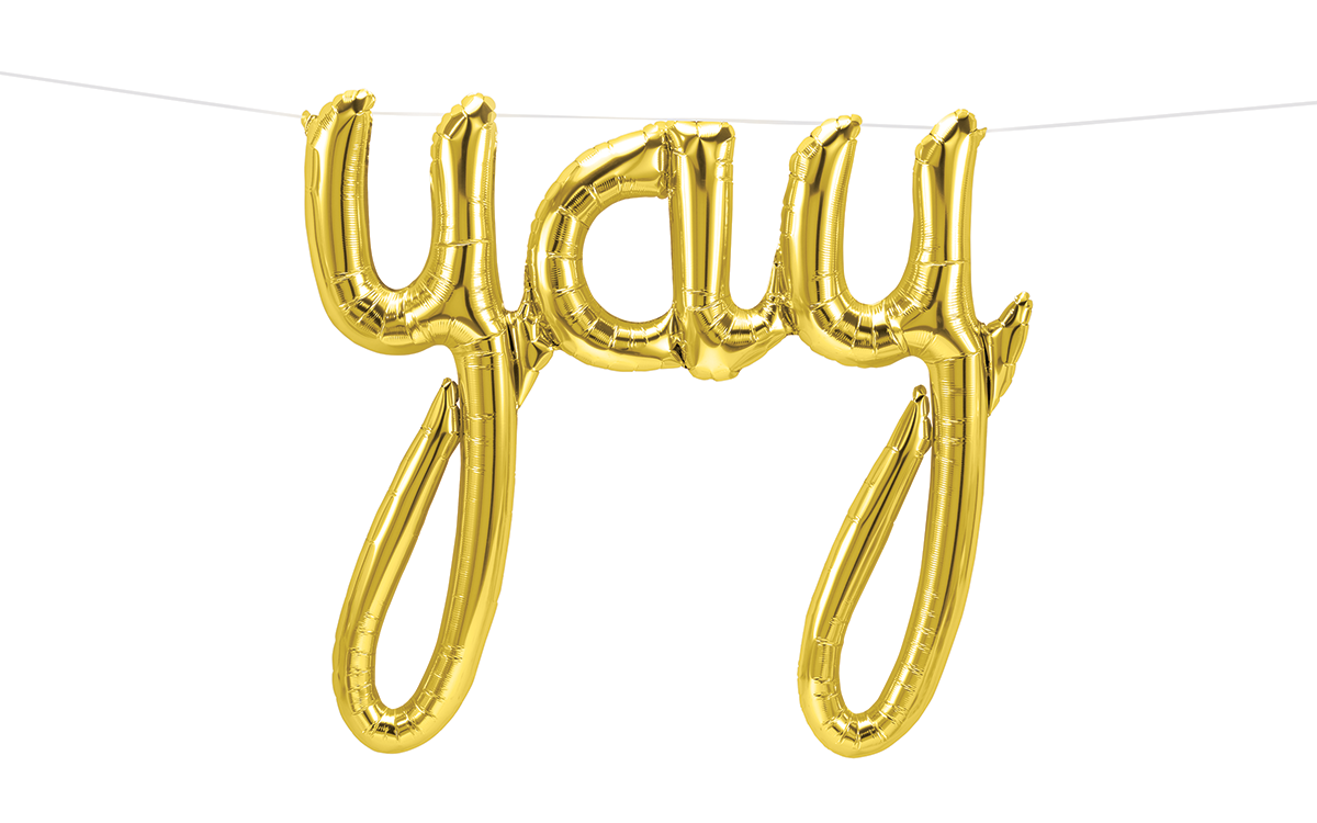 """45"""" Airfill Only Yay Script - Gold Script Word"""