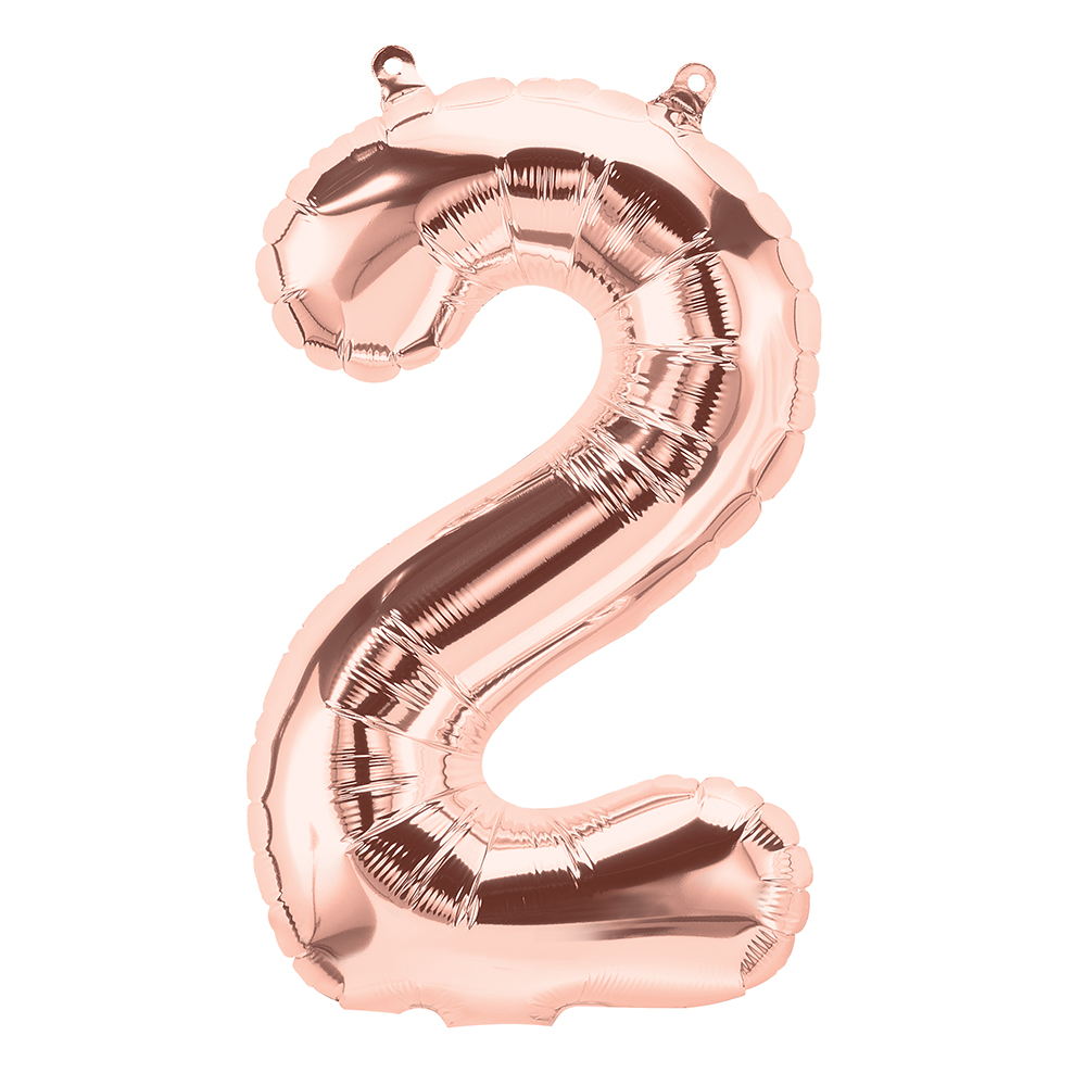 """16"""" Airfill Only Number 2 - Rose Gold  Number"""