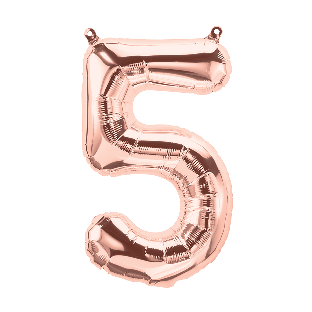 """16"""" Airfill Only Number 5 - Rose Gold  Number"""