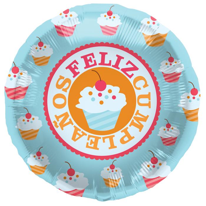 "18"" Foil Balloon Feliz Cumpleaños Cherry Cupcake"