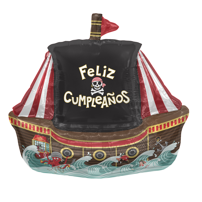 "36"" Foil Balloon Feliz Cumpleaños Pirate Ship"