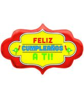 "28"" Foil Balloon Feliz Cumpleaños A Ti Dotty Frame"