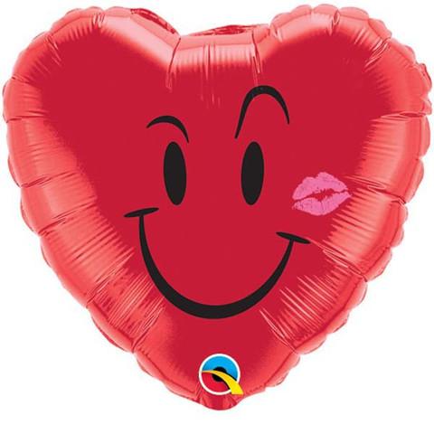 "18"" Naughty Smile & A Kiss Mylar Balloon"