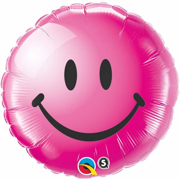 """18"""" Wild Berry Smiley Face Packaged Mylar Balloon"""