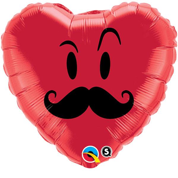 """18"""" Mr. Mustache Heart Balloon"""