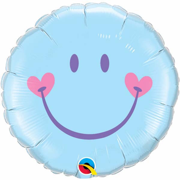 "18"" Sweet Smile Face – Pale Blue Mylar Balloon"