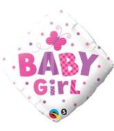 "18"" Baby Girl Dots Butterfly Mylar Balloon"