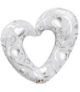 "42"" Hearts and Filigree Pearl White Balloon"