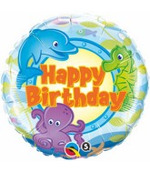 "18"" Birthday Fun Sea Creatures Mylar Balloon"