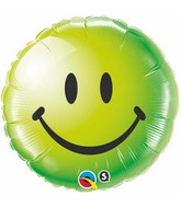 """18"""" Green Smiley Face Packaged Mylar Balloon"""