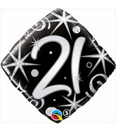 "18"" Number 21 Elegant Sparkles and Swirls Balloon"