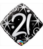 "18"" Number 21 Elegant Sparkles and Swirls Balloon"