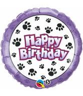 "18"" Birthday Paw Prints Packaged Mylar Balloon"