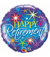 """18"""" Retirement Colourful Bursts Packaged Mylar Balloon"""