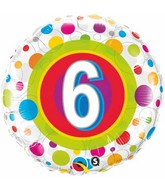 """18"""" Age 6 Colourful Dots Packaged Mylar Balloon"""