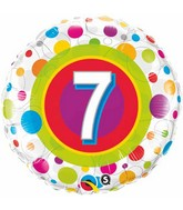 """18"""" Age 7 Colourful Dots Packaged Mylar Balloon"""