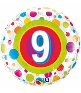 """18"""" Age 9 Colourful Dots Packaged Mylar Balloon"""