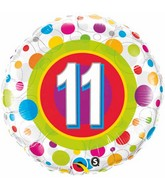 """18"""" Age 11 Colourful Dots Packaged Mylar Balloon"""