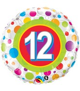 """18"""" Age 12 Colourful Dots Packaged Mylar Balloon"""