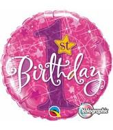 "18"" 1st Birthday Stars Pink Mylar Balloon"