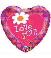 """18"""" Love You! Daisy Hearts"""