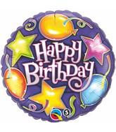 """18"""" Birthday Stars & Balloons Mylar Balloon"""