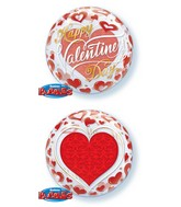 """22"""" Valentine's Day Red Hearts Bubble Balloon"""