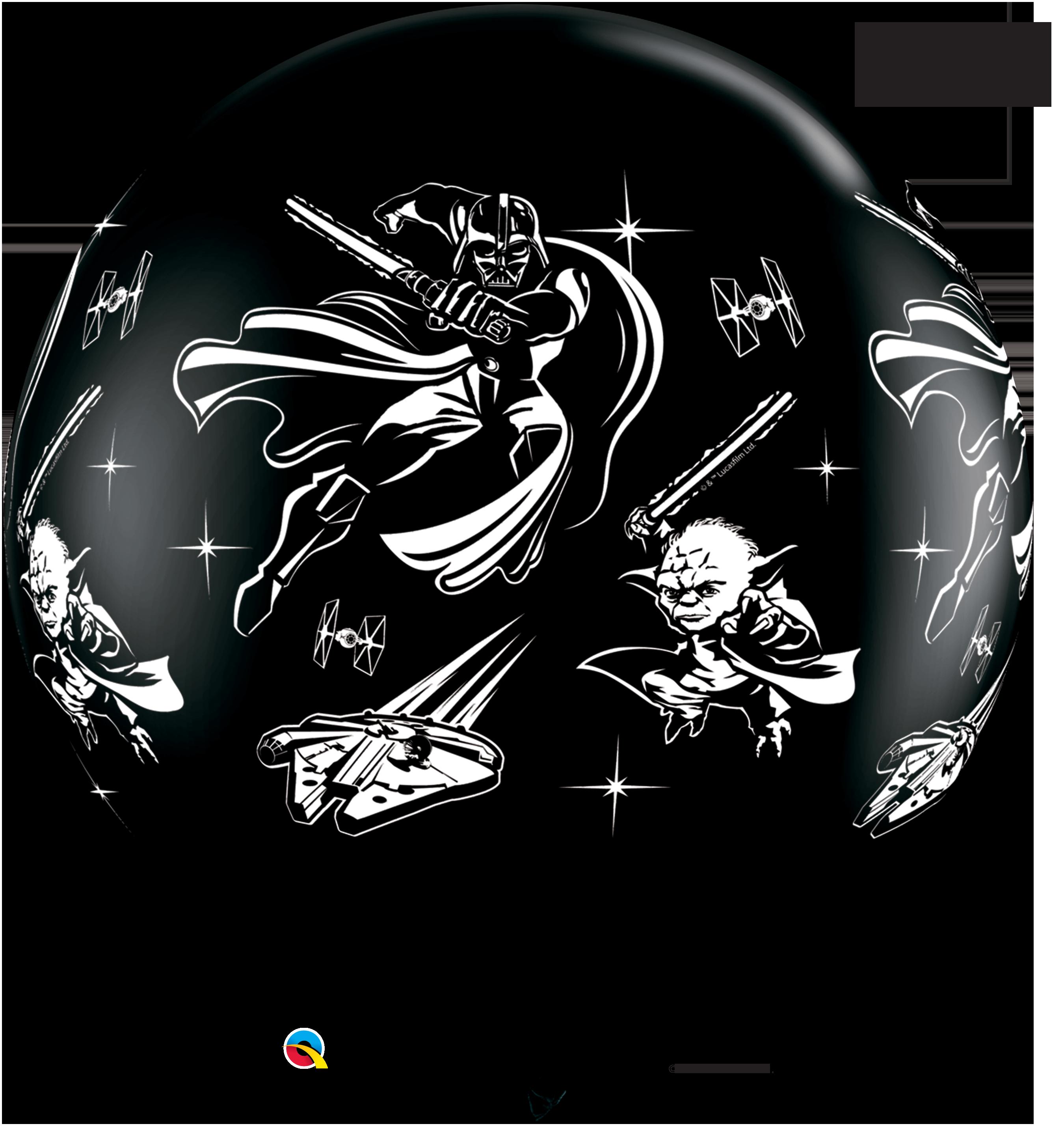 """36"""" Black 02 Count Star Wars: Darth Vader Latex Balloons"""