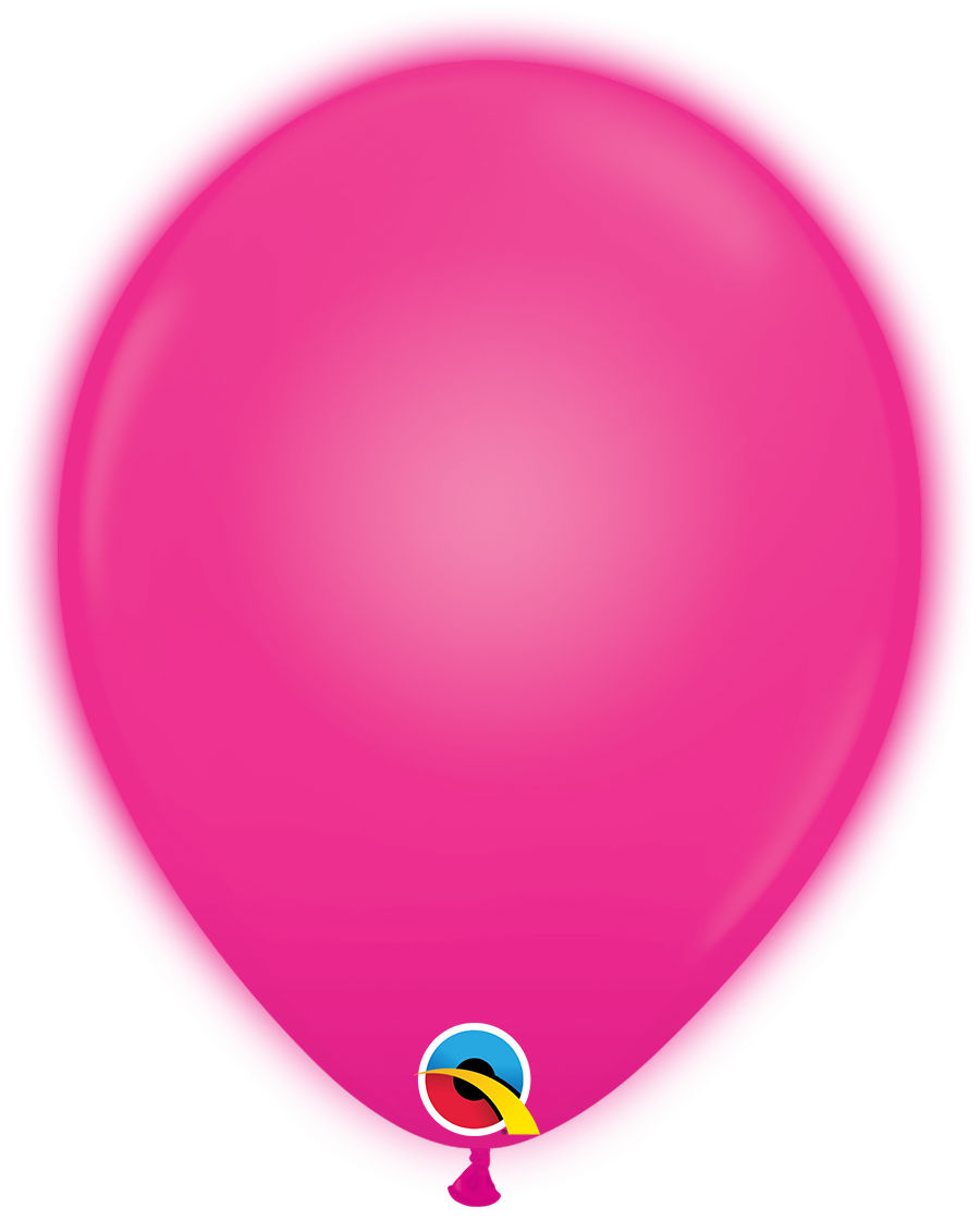 "10"" Q-Lite Magenta 5 Count Qualatex Light Up Latex Balloons"