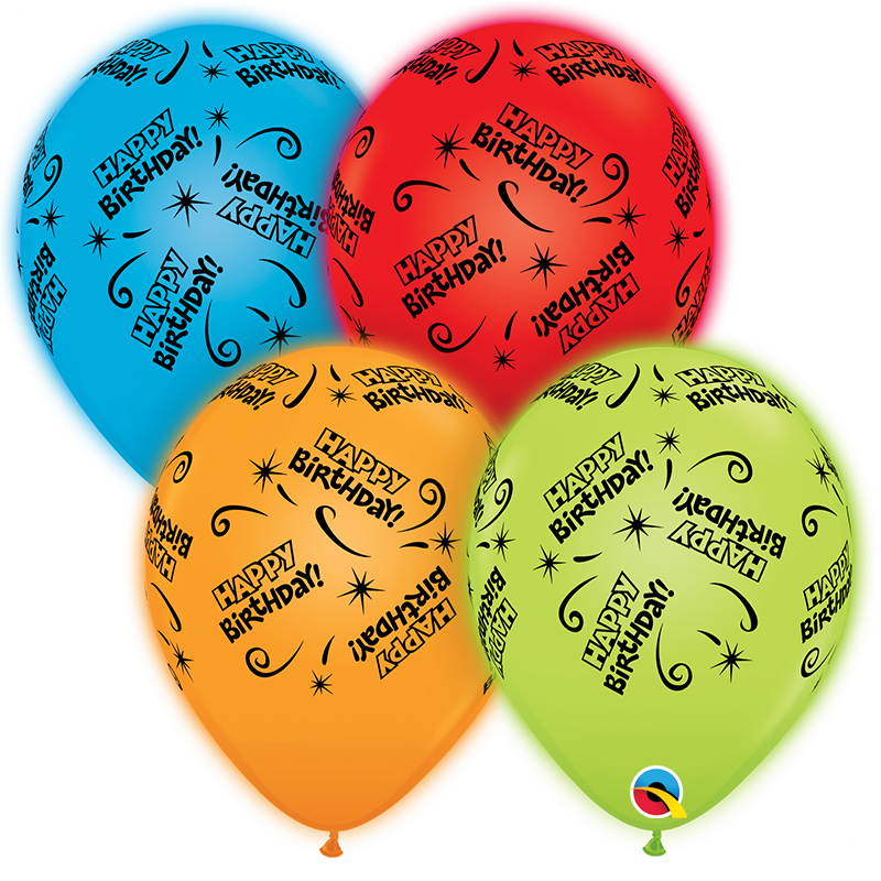"""10"""" Q-Lite Special Assorted4 Count Birthday Latex Balloons"""