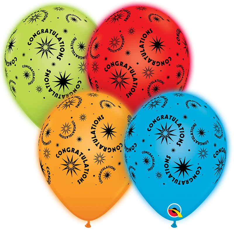 "10"" Q-Lite Special Assorted4 Count Congratulations Balloons"