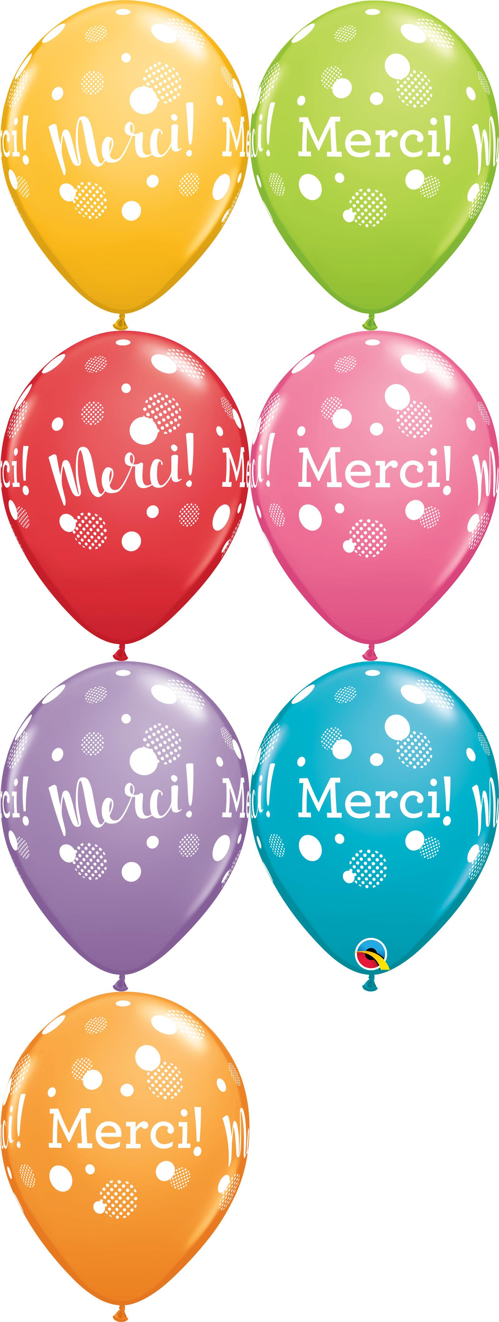"11"" Festive 50CT Merci Pois Par Dessus Pois Latex Balloons"