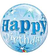 "22"" Single Bubble Birthday Blue Starburst Sparkle"