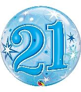 """22"""" Single Bubble 21 Blue Starburst Sparkle"""
