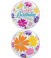 "22"" Single Bubble Birthday Flowers & Filigree"