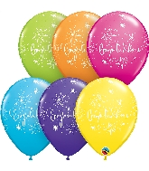 "11"" Tropical Assorted 50CT Congratulations Latex Balloons"