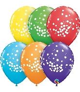 "11"" Bright Rainbow 50 Count Confetti Latex Balloons"