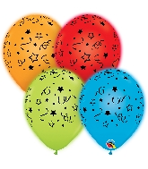 "10"" Q-Lite Special Assorted Stars, Dots Latex Balloons 4 CT"