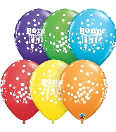 """11"""" 50CT Bonne Fete Confettis Et Pois Latex Balloons"""