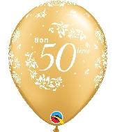"11"" Gold 50 Count Bon 50 Damas Latex Balloons"