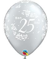 """11"""" Silver 50 Count Bon 25 Damas Latex Balloons"""