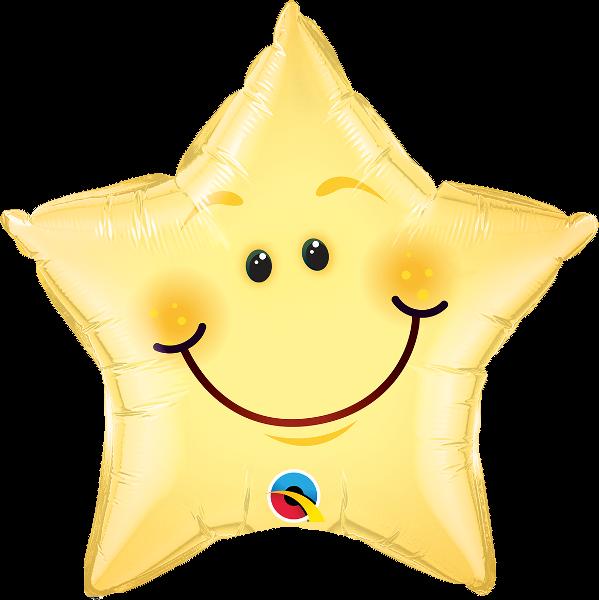 """20"""" Smiley Face Star Foil Balloon"""