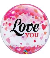 """22"""" Love You Confetti Hearts Bubble Balloon"""