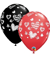 "11"" Latex Balloons Patterned Hearts & Arrows"
