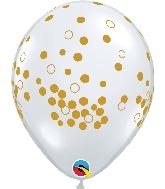 """11"""" Diamond Clear Gold Confetti Dots"""