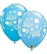 """11"""" Baby Boy Blue Dots-A-Round Latex Balloons 50 Count"""
