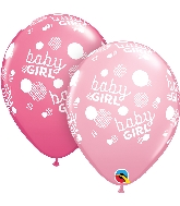 """11"""" Baby Girl Dots-A-Round Latex Balloons 50 Count"""