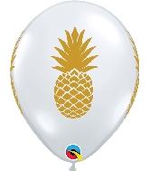 "11"" Golden Pineapple Latex Balloons Diamond Clear"