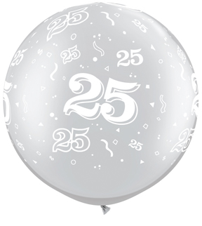"""30"""" 25 All Around Silver Latex Balloons (2 ct.)"""
